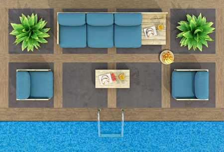 Top view of pallet sofa and armchairs by the pool - 3d rendering Stok Fotoğraf - 57836282
