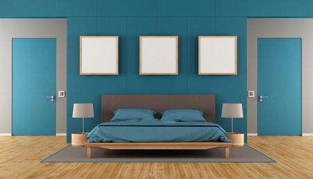 blue wall: Blue and brown modern bedroom with double bed,blank frame and two closed door - 3d rendering Stock Photo