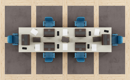 view of an elegant office: Top view of a modern boardroom with meeting table and floor in concrete and wooden paneling - 3d rendering