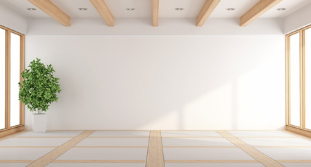 room: Empty white living room with windows and wooden beams - 3d rendering