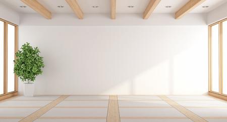 Vide salon blanc avec des fenêtres et des poutres en bois - rendu 3d Banque d'images - 59667756