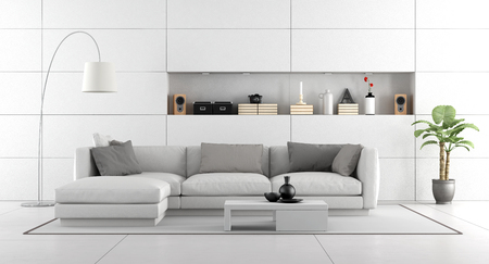 living room wall: White modern living room with wall paneling and niche - 3d rendering