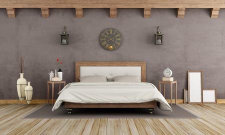muebles antiguos: dormitorio marrón de la vendimia con cama doble de madera - representación 3d Foto de archivo