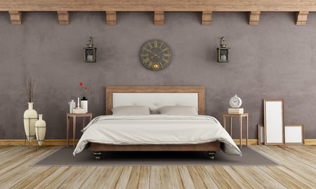 Vintage brown bedroom with wooden double bed - 3d rendering