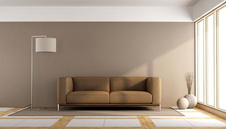 #59667758   Minimalist Wohnzimmer Mit Braunen Sofa Und Stehlampe    3D Rendering
