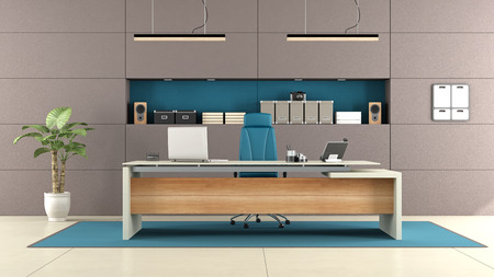 comfort room: Modern brown office with elegant desk and niche with objects - 3d rendering