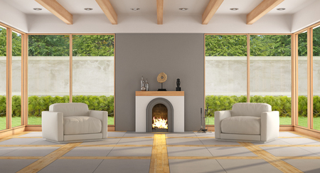 big window: Modern living room with fireplace,two armchair and large windows - 3d rendering