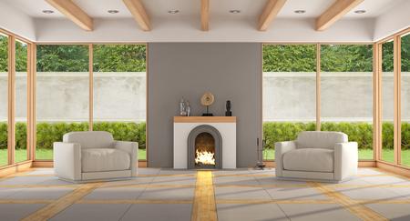 Salon moderne avec cheminée, deux fauteuils et de grandes fenêtres - rendu 3d