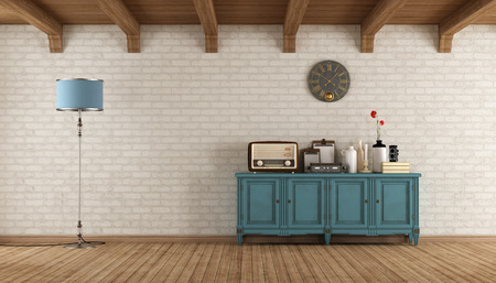 sideboard: Retro living room with old radio and vintage objects on blue wooden sideboard - 3d rendering