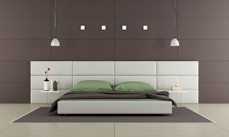 bedroom wall: Brown bedroom with modern bed,nightstand and wall paneling - 3d rendering