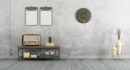 Vintage living room with old radio on coffee table - 3d rendering