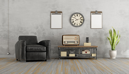 vintage furniture: Vintage living room with black armchair and old radio on coffee table - 3d rendering