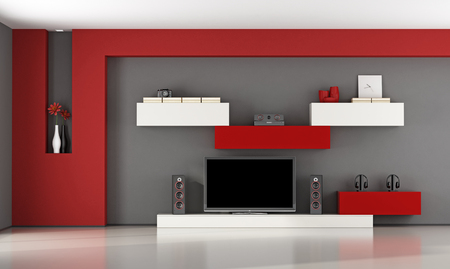 living room wall: Red and gray living room with wall unit and television set - 3d rendering