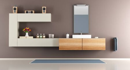 washbasin: Contemporary brown bathroom with washbasin and mirror - 3d rendering