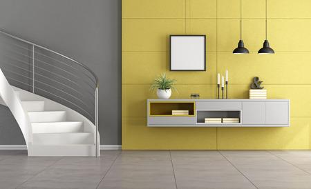 Weiße Treppe in einem minimalistischen Wohnzimmer mit grauem Anrichte auf gelbe Wand - 3D-Rendering