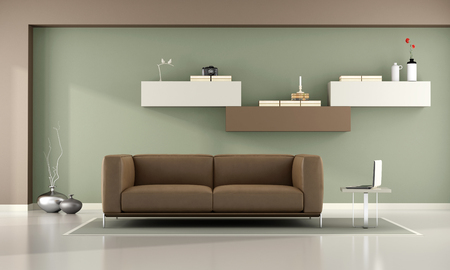 living room wall: Green and brown living room with wall unit and leather sofa- 3d rendering