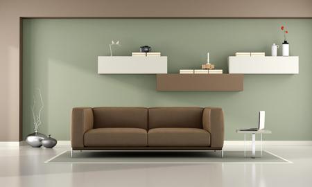 Grün und braun Wohnzimmer mit Schrankwand und Leder Sofa- 3D-Rendering