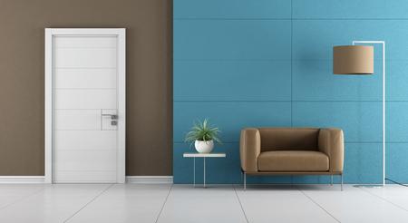 白いドアと 3 d レンダリングを羽目板青い壁に革張りのアームチェアと現代的な入り口