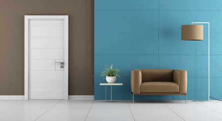 Contemporary home entrance with white door and leather armchair on blue wall paneling - 3d rendering 免版税图像 - 60722810