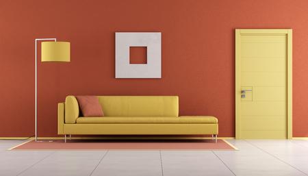 room door: Yellow and orange living room with modern sofa and closed door - 3d rendering