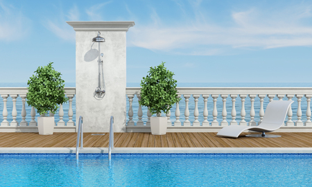 chaise lounge: Pool near the sea with classical balustrade,shower and chaise lounge - 3d rendering Stock Photo
