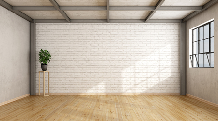 Empty contemporary loft with brick wall,wooden floor and iron beams - 3d rendering 免版税图像 - 59667764