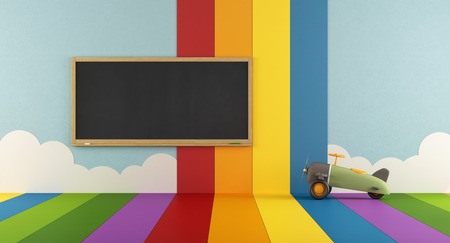 kidsroom: Playroom with blackboard , colorful wall and floor - 3d rendering