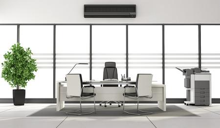 fotocopiadora: oficina moderna blanco y negro con escritorio, fotocopiadora y grandes ventanales - representación 3d