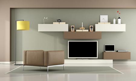 Marrón y verde sala de estar con televisor, ordenador portátil y un sillón de cuero - representación 3d