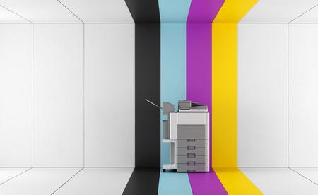 fotocopiadora: impresora multifunción en una habitación con paneles de colores - representación 3d