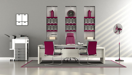 multifunction: Gray and purple modern office with desk,chairs and multifunction printer - 3d rendering Stock Photo
