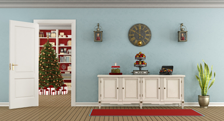 Retro living room with sideboard and open door with christmas tree on background - 3d rendering