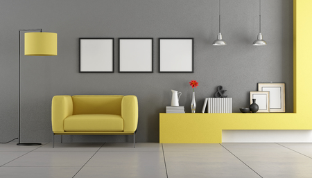 contemporary living room: Gray and yellow contemporary living room with armchair - 3d rendering