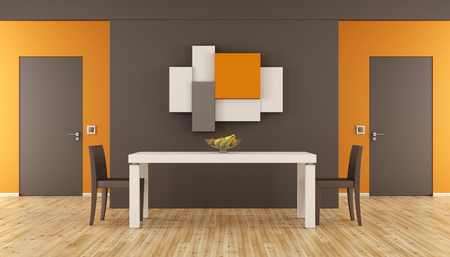 dining table and chairs: Brown and orange minimalist dining room with table,chairs and two closed doors - 3d rendering