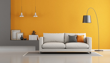Gray and orange modern living room with sofa - 3d rendering