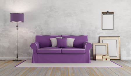 classic living room: Classic living room with vintage sofa - 3d rendering