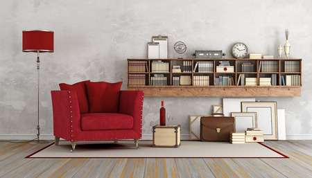 Stock Photo   Vintage Living Room With Red Armchair And Wooden Book Case  With Books And Decor Objects   3D Rendering