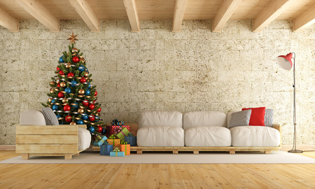 Christmas living room with pallet sofa, stone wall and wooden beams - 3d rendering 스톡 콘텐츠
