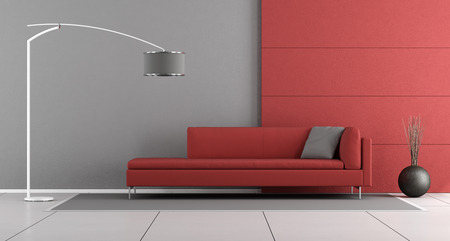 sofa modern red and gray modern lounge with modern sofa and floor lamp 3d - Modern Sofa Kaufen