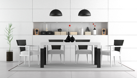 dining table and chairs: Black and white dining room with table,chairs and niche with objects - 3d rendering