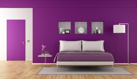 Modern purple bedroom with double bad,niche with decor objects and closed door - 3d rendering Stock Photo