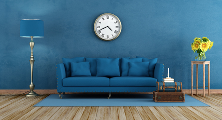 lamp stand: Retro blue living room with elegant sofa,lamp, and sunflower on wooden stand - 3d rendering