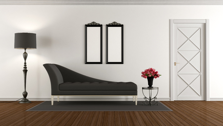 classic living room: Black and white retro living room with classic sofa and closed door - 3d rendering Stock Photo