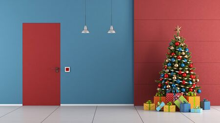 Red and blue Christmas room with closed door and xmas tree - 3d rendering