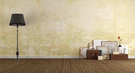 木製の床 - 3 d レンダリングのビンテージ オブジェクトと空のクラシック ルーム