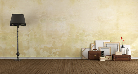 room wall: Empty classic room with vintage objects on wooden floor - 3d rendering Stock Photo