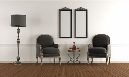 classic living room: Black and white classic living room with two armchairs - 3d rendering