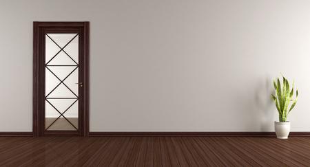 Salon moderne avec porte vitrée en bois - rendu 3d