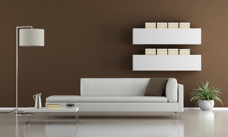 contemporary living room: Contemporary brown living room with white sofa - 3d rendering