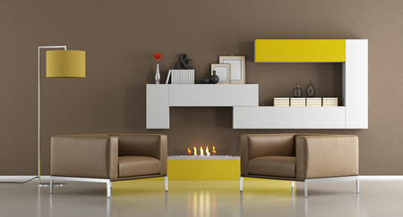 fireplace living room: Modern living room with armchairs and ecological fireplace - 3d rendering